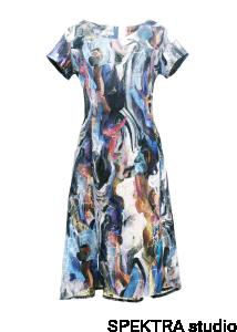 072816bd0e Sukienka we wzorzysty kwiatowy wzór dłuższa z tyłu odcień niebieski